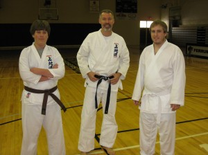 W and Doug (visiting from a local Uechi club) and Andrew (from Ferrum)